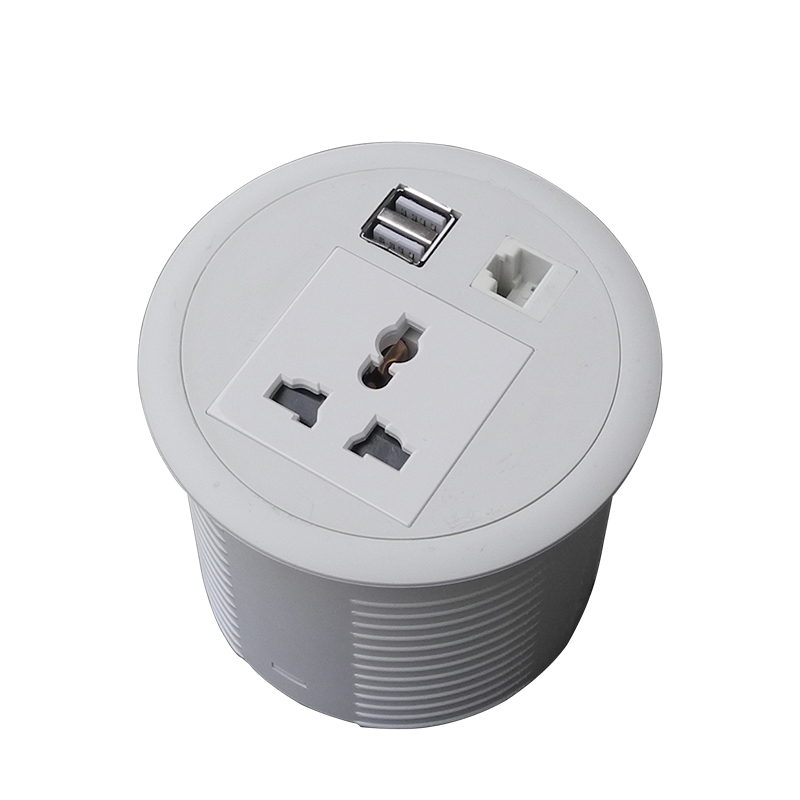 2019 Universal power, two USB chargers and LAN white mini desktop socket for furniture power outlets
