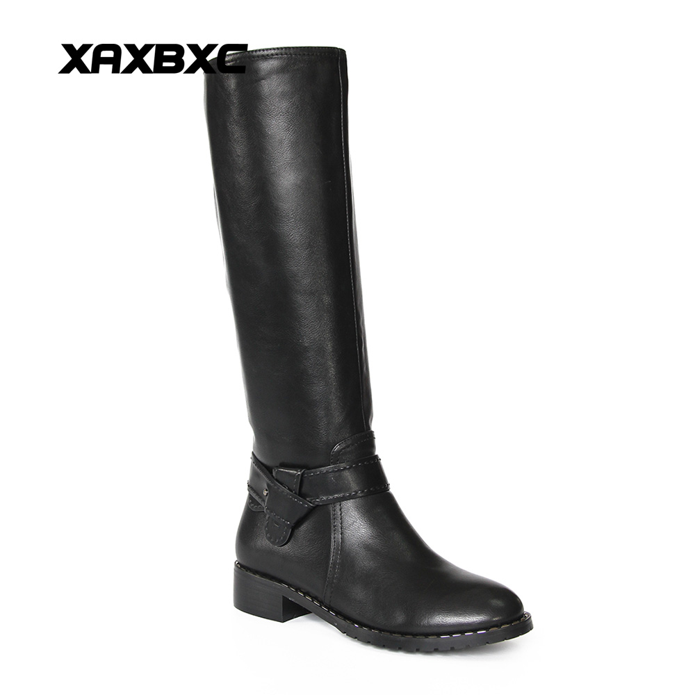 XAXBXC 2018 Winter Black HI-Q PU Leather Simple Patch Lining Flat Heel Long Boots Warm Women Boots Handmade Casual Lady Shoes xyx q simple