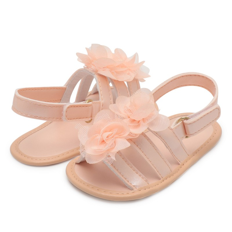 2019 New PU Leather Small Flower Princess Shoes Summer Shoes Solid Color Toddler Shoes Newborn Shoes