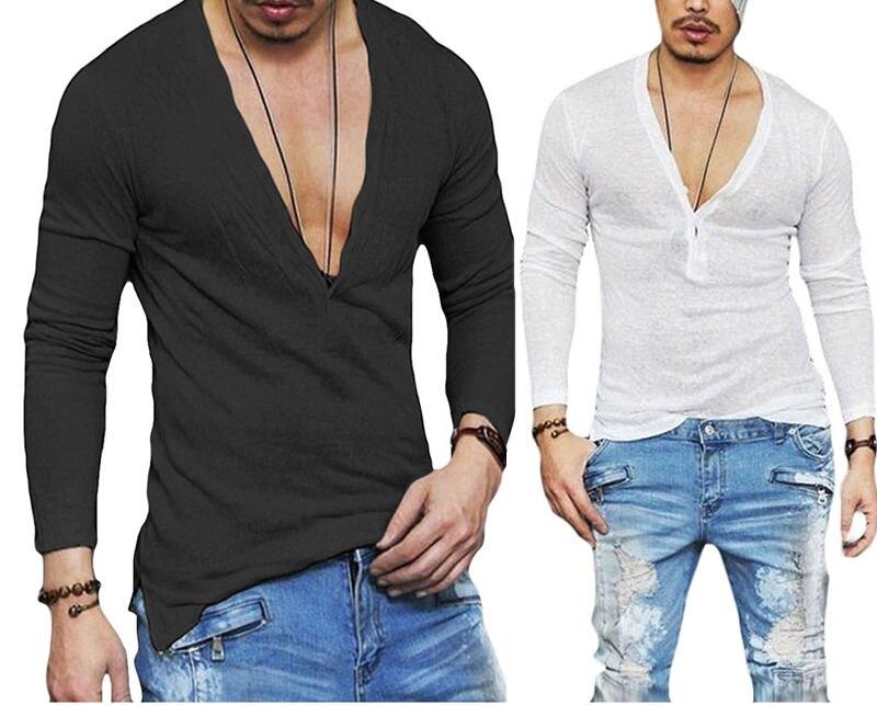 US Stock Fashion Men Casual Slim Fit Long Sleeve Deep V-neck Sexy Shirt T-shirts