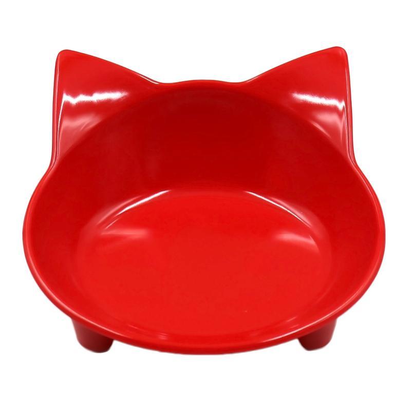 Автомобильная чаша, 8 цветов, кошачья форма, посуда для домашних питомцев, миска для домашних питомцев, кормушка для кошек и собак, посуда для маленьких собак, миска для воды, аксессуары для домашних животных - Цвет: Red