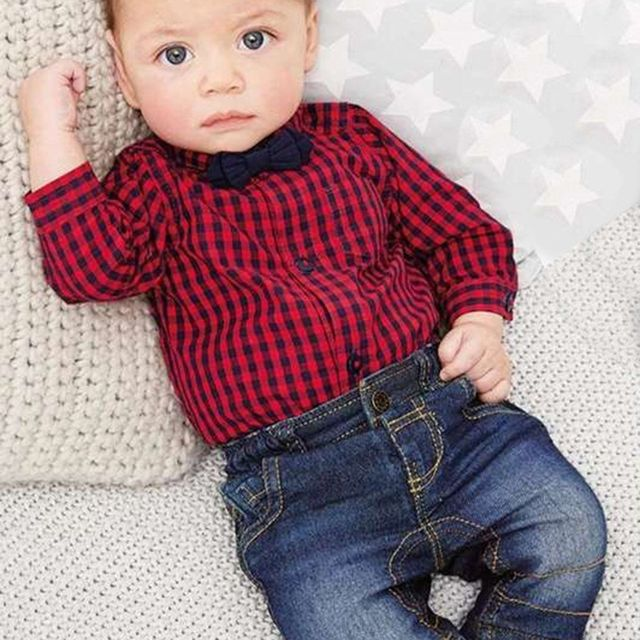 acc6a0e8e 2pcs Newborn Toddler Kids Baby Boy Gentleman Jumpsuit Romper Plaid ...