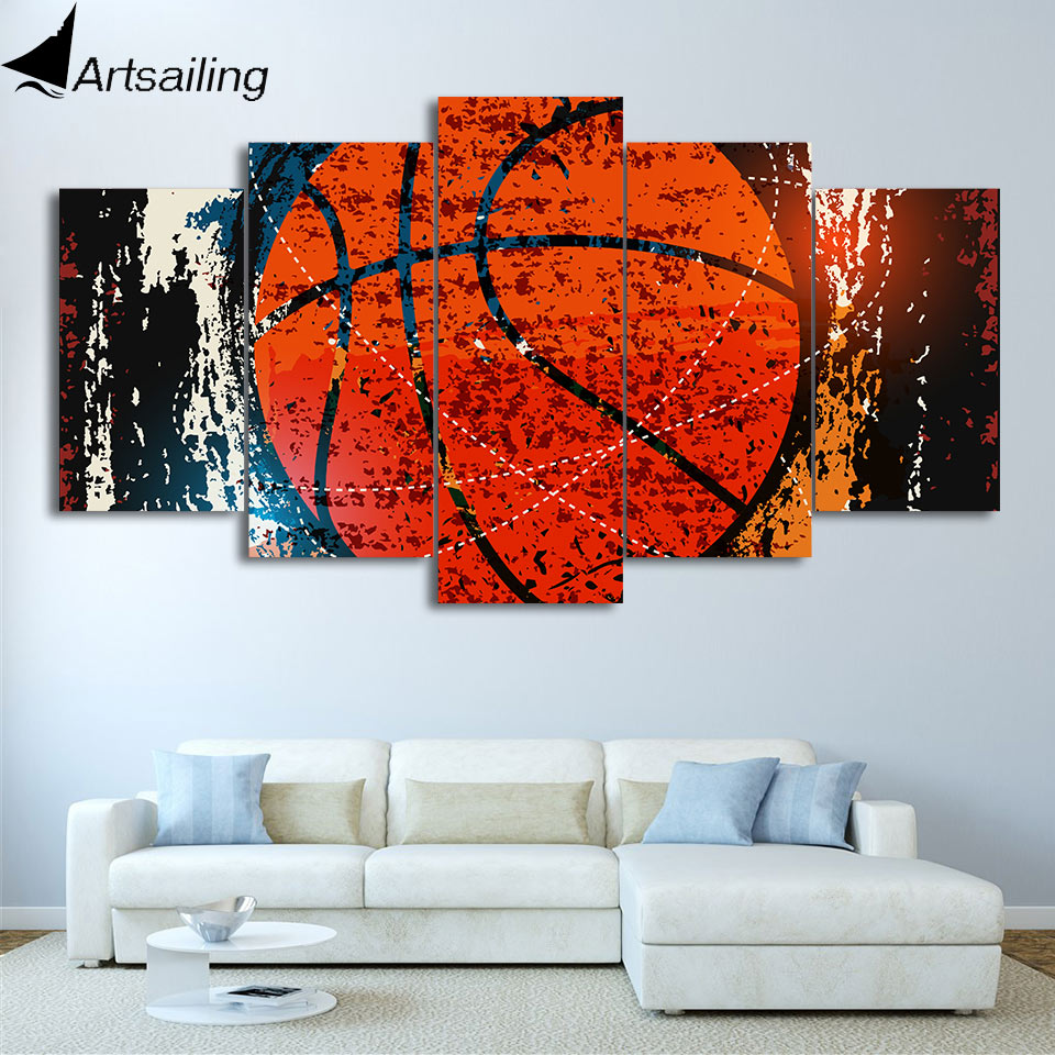 Modern Painting Canvas Basketball Wall Pictures Home Decor: HD Printed 5 Piece Canvas Art Abstract Red Basketball
