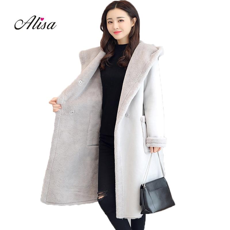 Winter Women Fashion Faux   Suede   Jacket 2018 New Longs Sleeve Hooded Medium Long Coat Solid Wool Keep Warm Loose Ladies Jackets