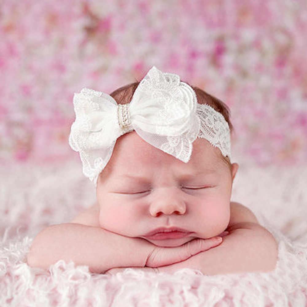 Withe Lace-عصابات رأس زهرة للفتيات الصغيرات ، إكسسوارات مرنة للأطفال ، عصابات رأس لحديثي الولادة ، إكسسوارات صور