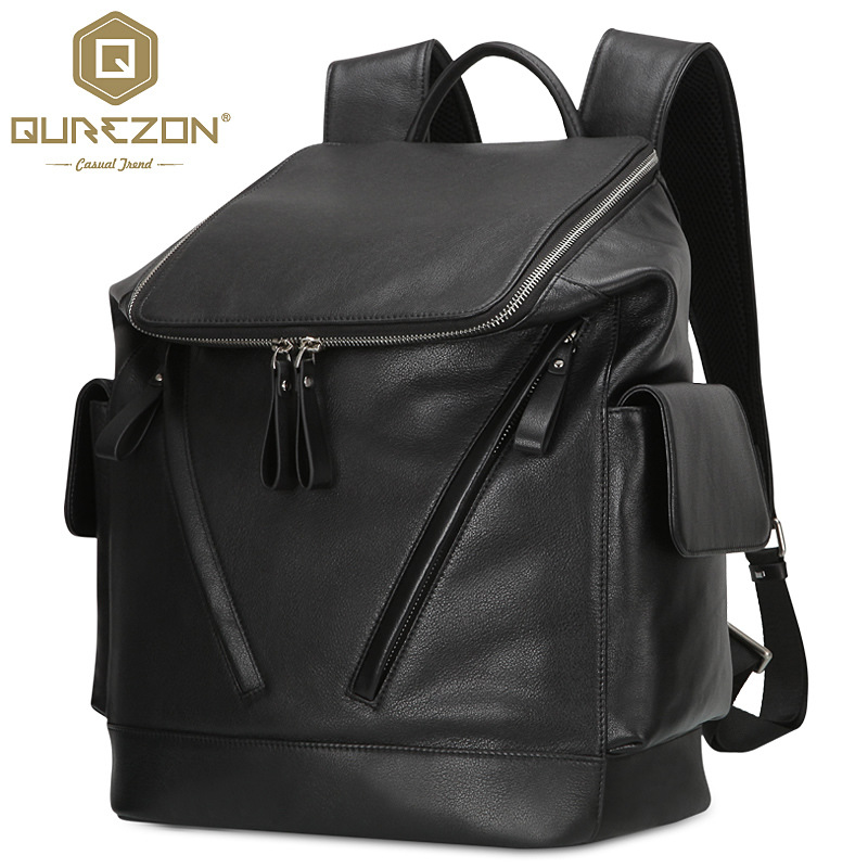 High Quality 100% Guarantee Real Genuine leather Men's Black Backpacks Business Travel Bag Portfolio Back Pack Laptop Bags ZH176 aiweiyi womens high quality genuine leather real fur 100