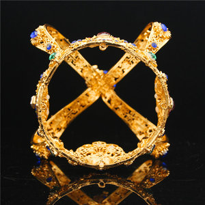 Image 5 - تاج الملك الملكي الباروكي للتزيين بالزفاف والتيجان للنساء تاج الملكة والتيجان مجوهرات الرأس