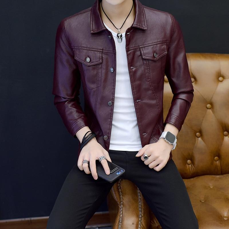 HOO 2020 Autumn Men's Youth Fashion Trend Leather Jacket Slim Type PU Leather Clothing