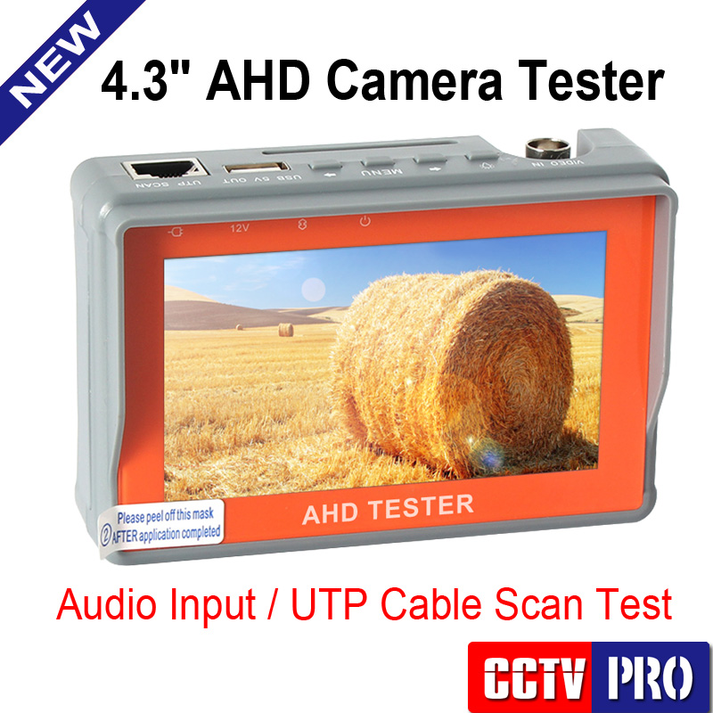 imágenes para Nueva Cámara CCTV 1080 P 720 P AHD Analógica Probador de LCD de 4.3 pulgadas Video de Prueba 12 V/5 V Cable De Salida De Alimentación AHD CCTV Tester