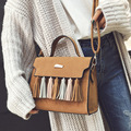 2017 new vintage matte leather messenger bag ladies small tassel shoulder bags famous brand satchels designer clutch top quality