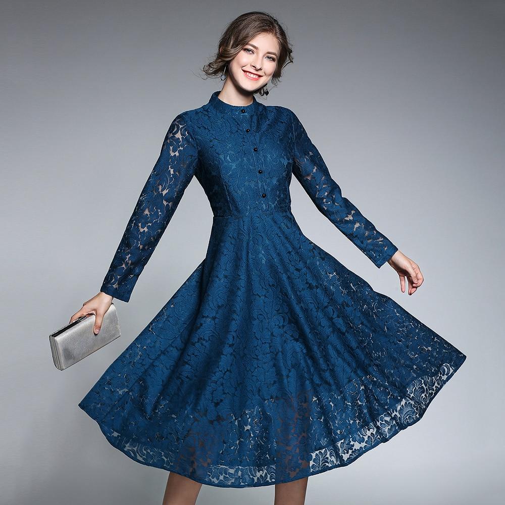 Antique Dressing Gown: Vintage Blue Lace Dresses Women 2018 Autumn Long Sleeves