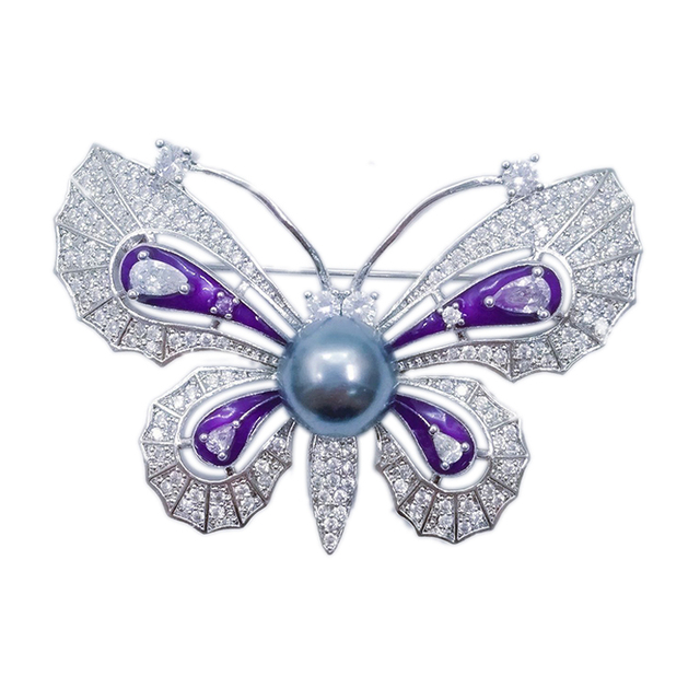 Superb Black Imitated Pearl Purple Enamel Large Butterfly Pins And Brooches For  Women Crystal CZ Zircon Suits