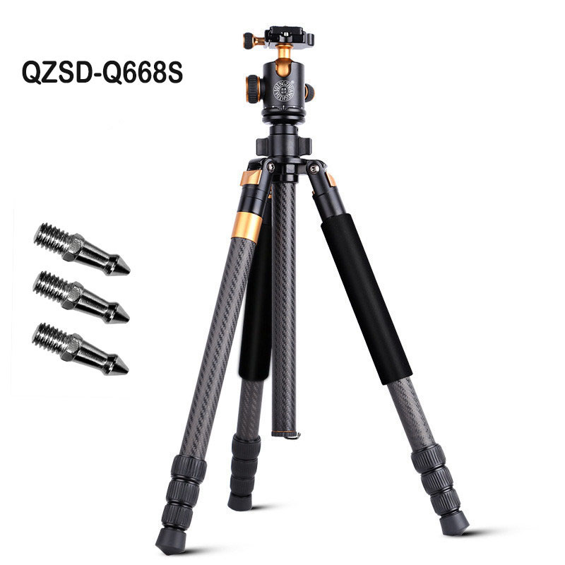 Q668S Professional Camera Tripod Monopod DSLR Aluminum Travel Tripod with Ball Head Nails for Digital SLR Lightweight 1327G zomei z888 portable stable magnesium alloy digital camera tripod monopod ball head for digital slr dslr camera