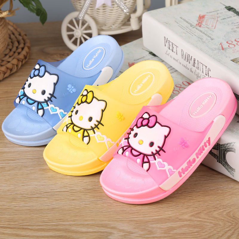 1-12 Years Girls Indoor Slippers Bathroom Little Kids Lovely Hellokitty Shoes For Girls Beach Shoes PU Flat Heels Non-slip
