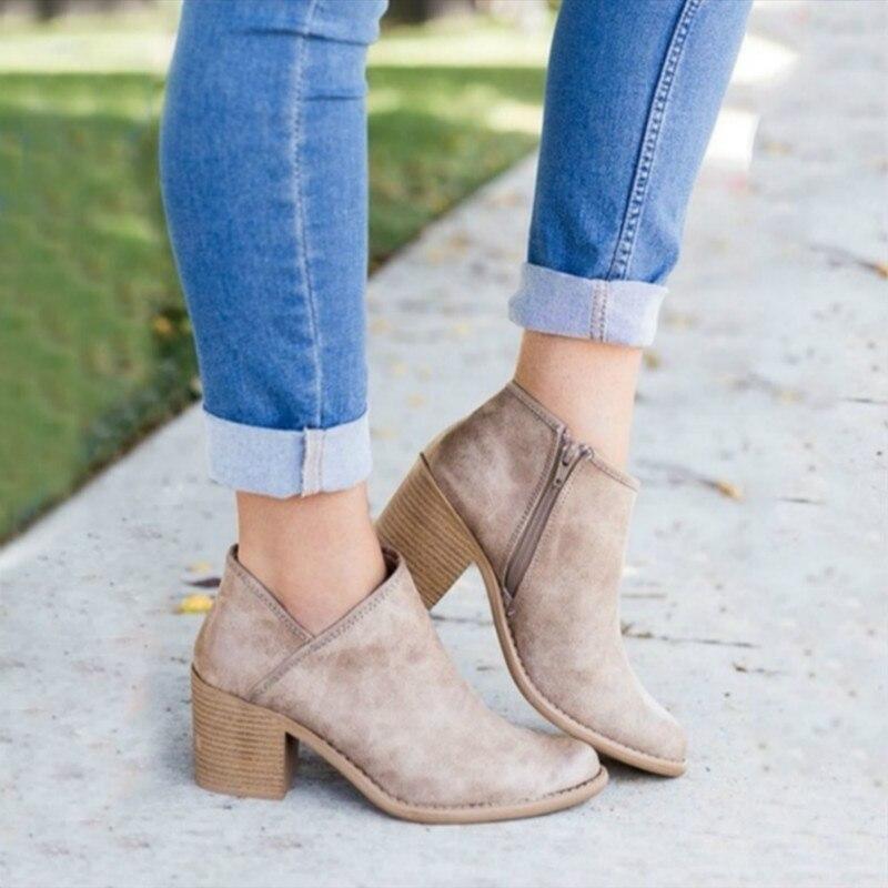 2019 Femmes Femme Casual Botas Rétro Cheville À Chaussures Chaussons Mi Size899 marron Hauts Plus Talons Automne Bottes Chic Feminina Mujer Beige Bloquer gris EvwxIqO6vr