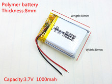 803040 3.7V 1000mah Lithium Polymer Li-Po Rechargeable Battery For MP4 MP5 GPS DVD mobile video game PAD E-books tablet PC