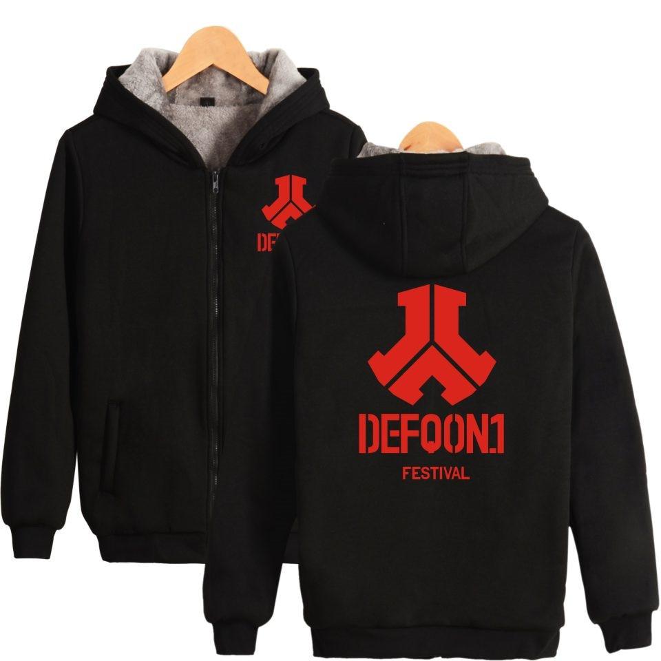 Defqon 1 Zipper Hoodies Men Winter Thicker Popular Hip Hop Sweatshirt Men Hoodie Electronic Music Rock Zipper Fashion Clothe