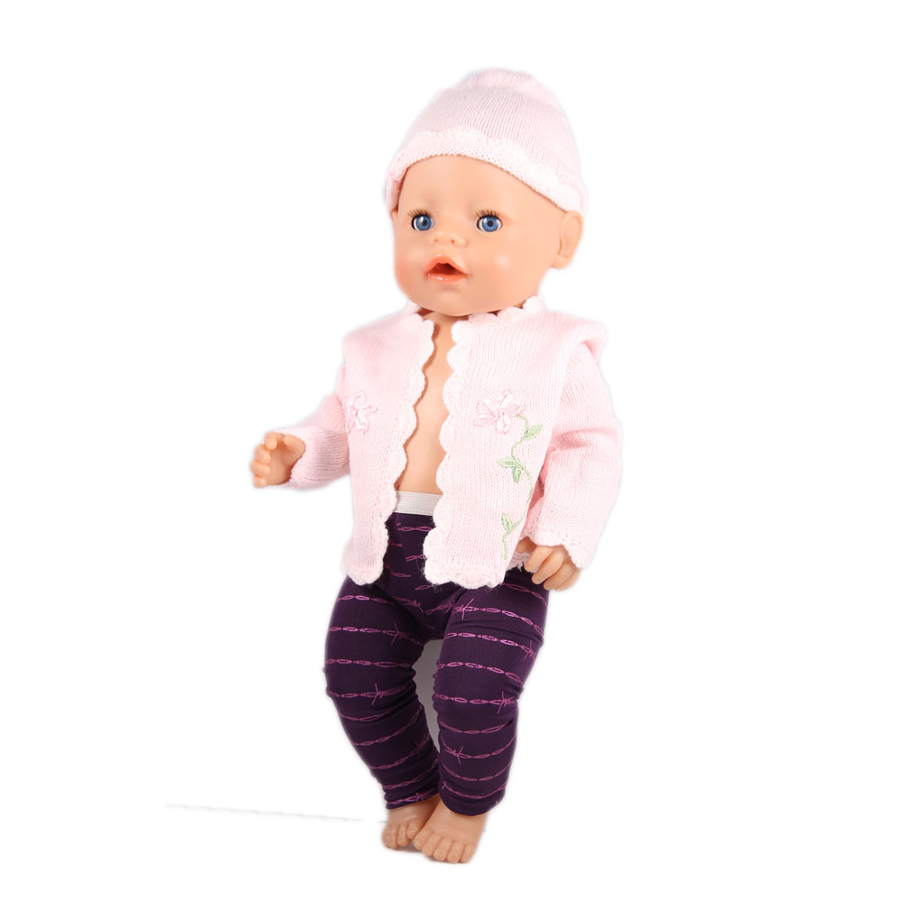 Pink Hat+Coat+Leggings Doll Clothes Wear fit 43cm Baby Born zapf ,18 American Girl Doll Clothes , Children best Birthday Gift 2color choose leisure dress doll clothes wear fit 43cm baby born zapf children best birthday gift only sell clothes