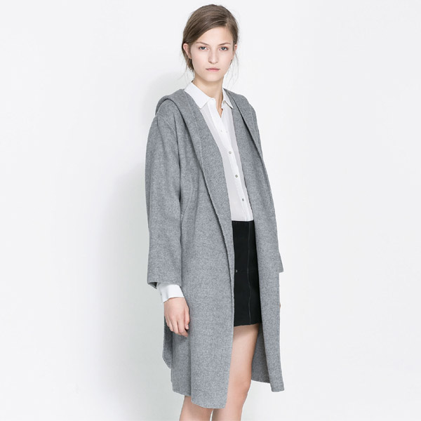 Hot selling 2014 autumn new grey hooded wool blending belt ...