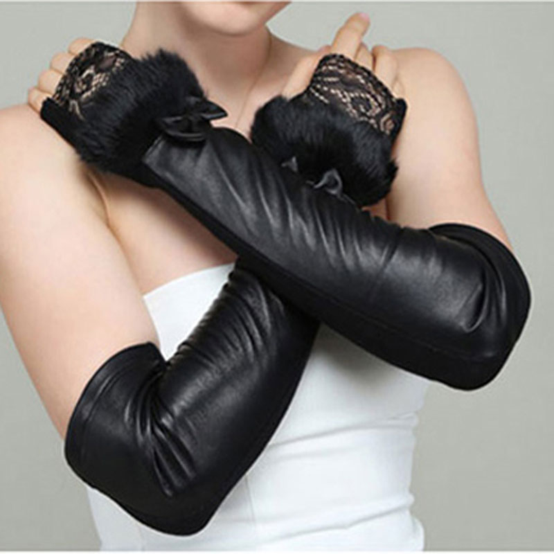 Long Sheepskin Leather Gloves Women Fashion Lace High Elastic Cotton Arm Cover Spring And Autumn Warm Half Finger