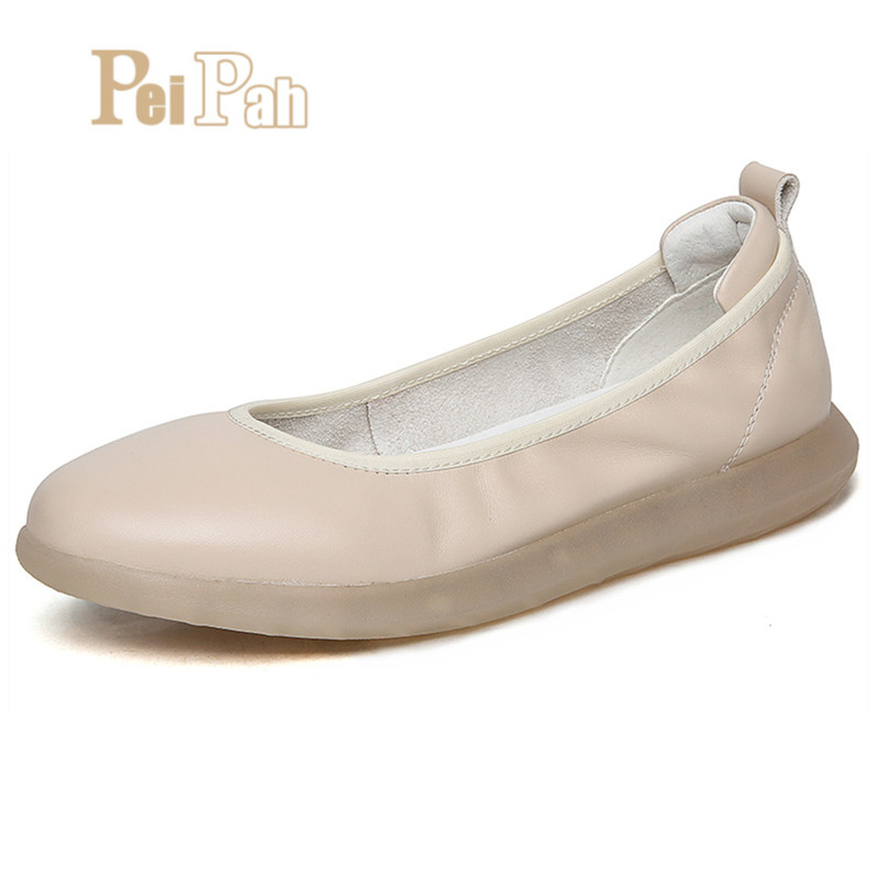 PEIPAH Comfortable Genuine Leather Women Flat Shoes Female Loafers Mother Shoes Soft Leather Ballet Flats Shoes Sapato FemininoPEIPAH Comfortable Genuine Leather Women Flat Shoes Female Loafers Mother Shoes Soft Leather Ballet Flats Shoes Sapato Feminino