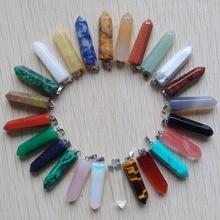 Toptan 24 adet/grup 2019 moda sıcak satış çeşitli doğal taş kolye noktası takılar altıgen ayağı kolye ücretsiz kargo