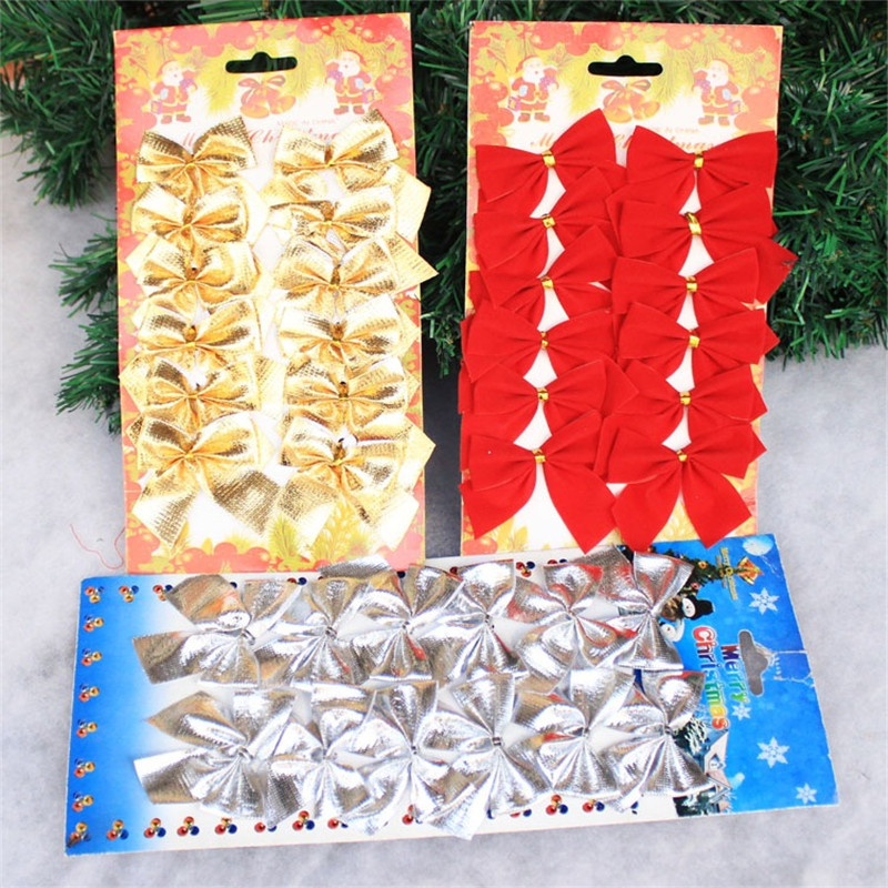 10packs/lot Diy Christmas tree decorations red butterfly golden silver hanging ornament for party hotel shop home festival decor
