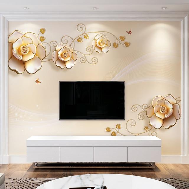 3d Custom Gold Rose Floral Wallpaper Papel Decorativo De Pared Bedroom Minion For Tv