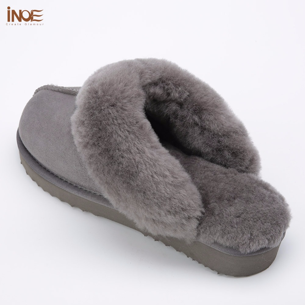cabaff4410652 INOE sheepskin leather wool fur lined men home shoes winter suede slippers  indoor house shoes for man half slippers high quality-in Slippers from Shoes  on ...