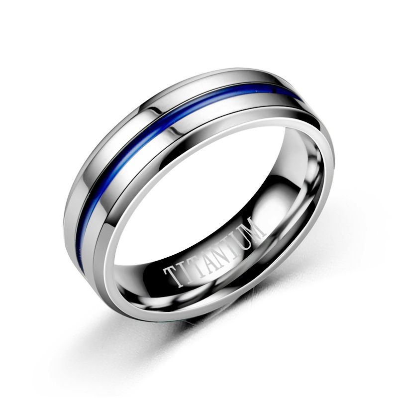 KNOCK  Trendy  Stainless Steel Black Blue Groove Ring For Men Wedding Bands Rainbow Lovers ring  Male Jewelry Drop shipping 2