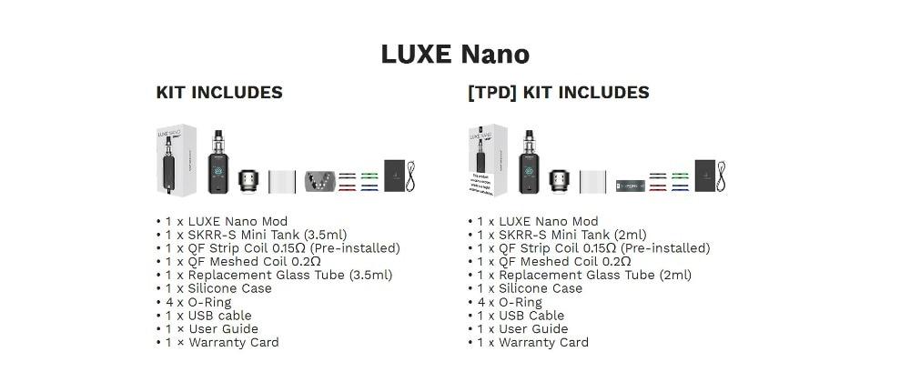 Original 80W Vaporesso Luxe Nano Touch Screen Vape Kit with 2500mAh Battery & 3.5ml2ml SKRR-S Mini Tank QF Mesh Coil E-cig Kit (12)