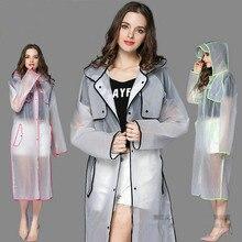 Новая Мода ЕВА Женщин Пончо С Шляпу Дамы Водонепроницаемый Длинные Полупрозрачные Плащ Взрослых Пальто Дождя