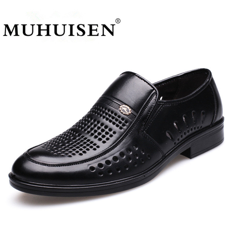 MUHUISEN Men Casual Leather Shoes Summer Breathable Hollow Cut Genuine leather Loafers Male Flats Driving Shoes