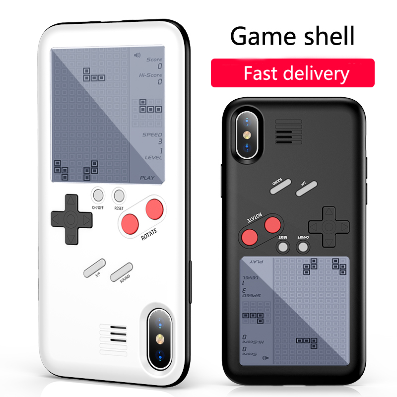 ENKLOV Play game For Mobile Phone Case Novelty For iPhone Series Mobile Phone Case Tetris Tank War Racing Game Retro