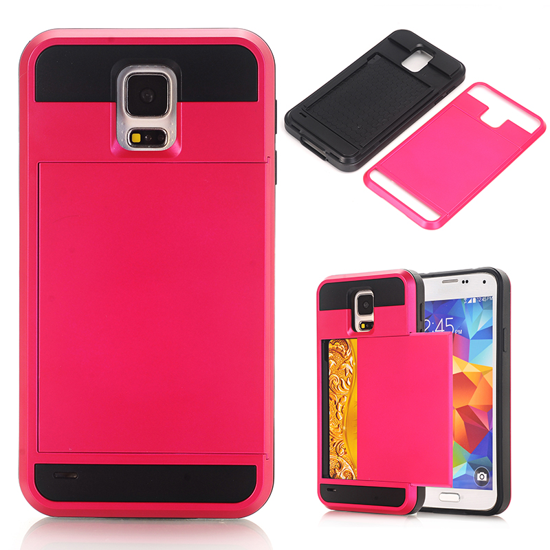 SamsungS5 Case Slide Slider Back Card Holder Cases for Fundas Samsung S 5 Armor Protective Cover For Samsung Galaxy S5 I9600