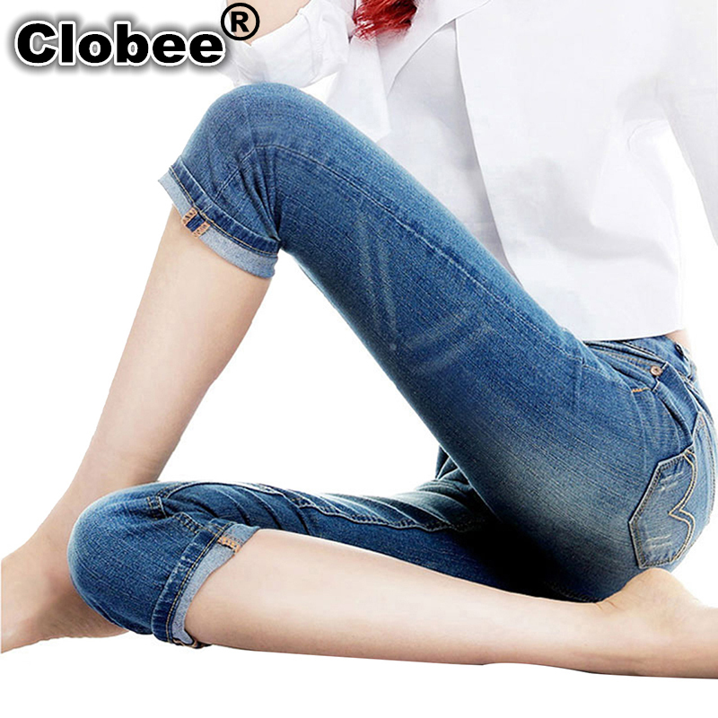 2017 3/4 Women's Skinny Jeans Summer Knee Length Blue ...