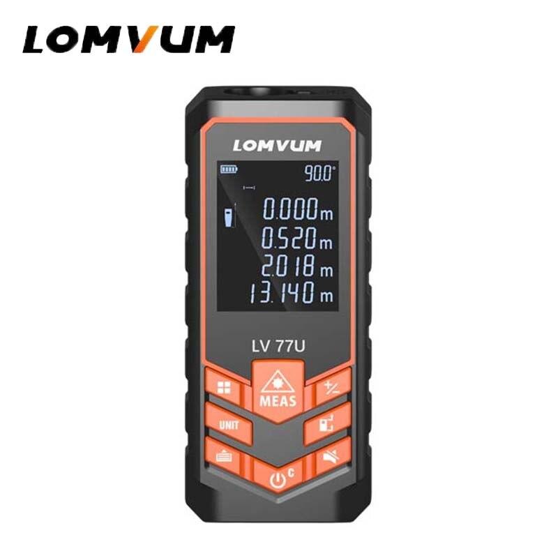 LOMVUM LV 77U Handhold Laser Rangefinder Digital Laser Distance Meter USB Charge Electrical Level Tape Laser Distance Measurer Laser Rangefinders     - title=