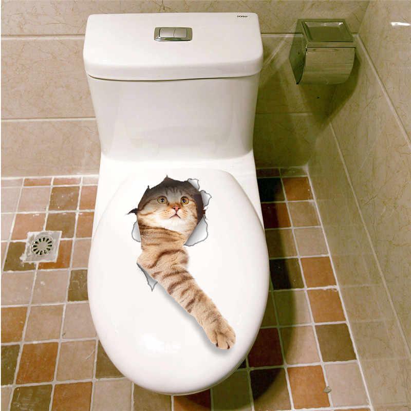 แมวสดใส3Dทุบสวิทช์ผนังห้องน้ำห้องส้วมKicthenตกแต่งD Ecalsตลกสัตว์ตกแต่งโปสเตอร์พีวีซีภาพจิตรกรรมฝาผนังศิลปะ