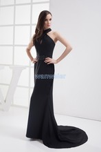 free shipping strapless mermaid gown 2013 new design floor-Length vestidos formales customized black chiffon evening Dress