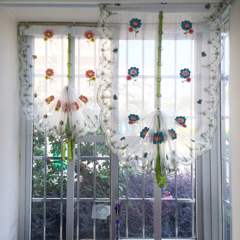 Ho how to tie balloon curtains - Organza Wool Embroidery Balloon Curtain Pastoral Style Tulle Curtains For Kitchen Bedroom Living Room Window Decorative