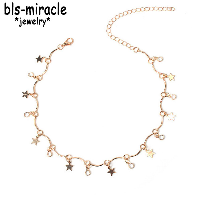 Bls-miracle Newest Fashion Jewelry Accessories  Punk  Gold Color Star Tassel Choker  Necklace For Couple Lovers' Girl Gift N-409