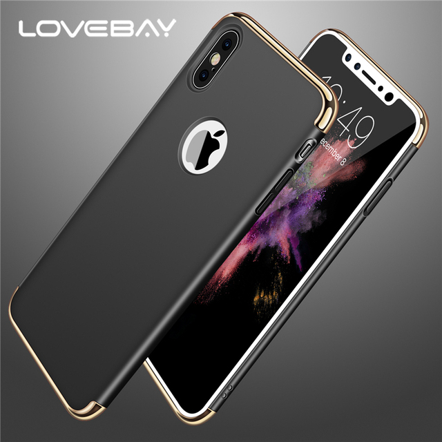 Lovebay Luxury 3in1 Design For Apple iPhone X Phone Case Electroplated Matte Hard PC For Phone Case iPhone X Back Cover Bags