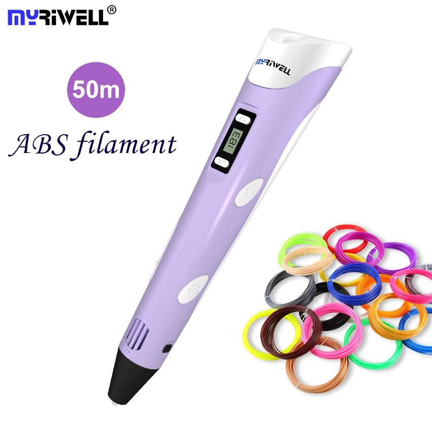 3D Pen 3D Printer Pen 3D Printing Drawing Pen With 50 Meters 10 Color ABS Filament Magic Maker Arts LIX for Student Gift цена 2017