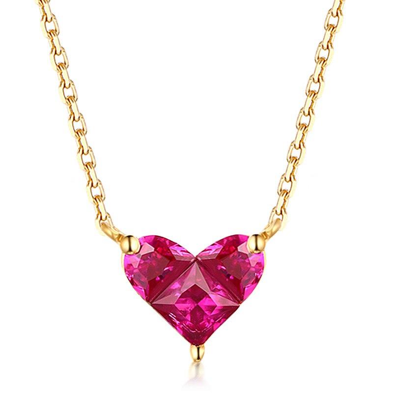 14 K or collier en forme de coeur Simple petit frais doux polyvalent 3mm Moissanite diamant avec chaîne collier pour les femmes