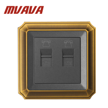Free Shipping MVAVA Double Electric Universal TEL RJ11 wall socket ,wall Telephone  jack Outlet,Luxury Decorative Bronzed panel