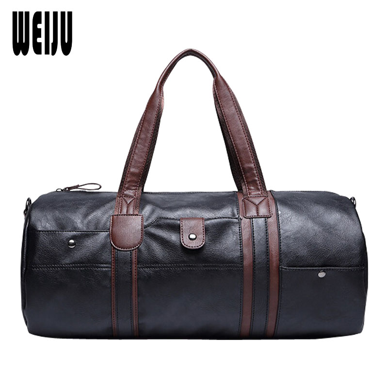 WEIJU New PU Leather Men Travel Bag 2017 Vintage Mens Large-Capacity Portable Shoulder Bags Mens Casual Travel Duffle Bags