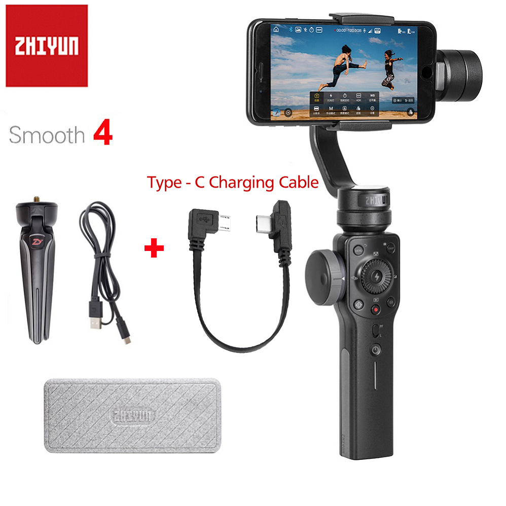 Zhiyun Smooth 4 Q 3-Axis Handheld Gimbal Stabilizer for Smartphone iPhone X 8P 8 7 7P 6S SE Samsung S9 S8 S7 with Charging Cable