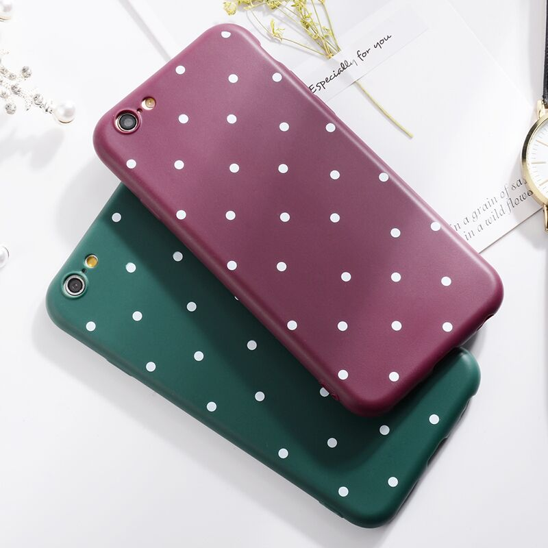 Wave Point Phone Case For iPhone 6 Cover Silicon TPU Cute Girl Back Cover For iPhone X 8 7 6 6S Plus 5 5S SE Coque Capa Fundas