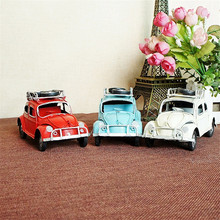 Three-color Painting Classic Car Models Handicraft Antique Vehicle Collection Desktop Furnishing Ornaments for Home Office Study(China)
