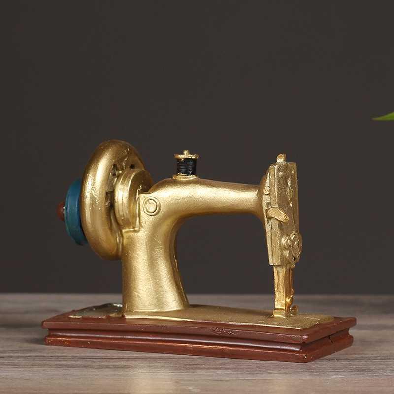 Винтажный домашний декор в античном стиле, швейная машина из смолы, модель Miniaturas, домашняя коллекция, Подарочные статуэтки, миниатюры